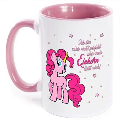 Tasse mit rosa Henkel für Links- und Rechtshänder