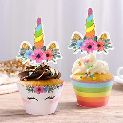 Lustige Einhorn Muffin Dekoration