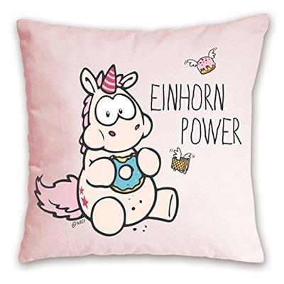 lustiges rosa Einhorn Kissen Power