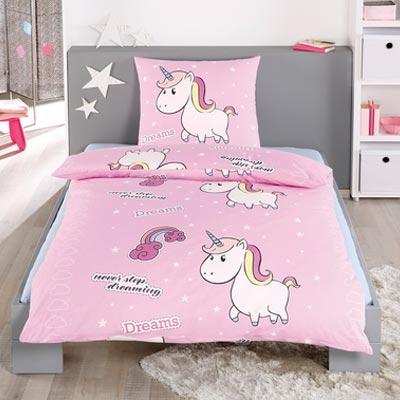 kuschelige Einhornbettwäsche in rosa